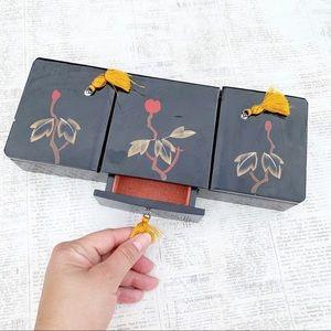 Vintage Asian Wood Jewelry Box | Flower Drawer Box